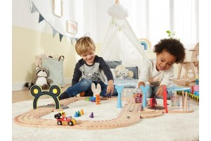 Дерев'яна залізниця PlayTive Mickey Mouse 36 ел. Німеччина (Ikea Lillabo, Viga Toys, Brio)