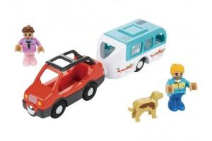 Авто з автопричепом та відкидним дахом для дерев'яної залізниці Playtive Junior